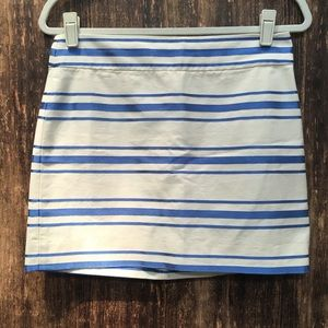 J CREW FACTORY METALLIC BLUE MINI STRIPED SKIRT